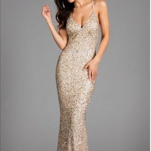 Scala 47551 X Back Sequin Evening Gown